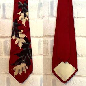 Vintage Rockabilly Hand Painted Burgundy Rayon Tie
